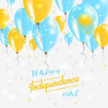 Kazakhstan Vector Patriotic Poster Independence Day Placard with Bright Colorful Balloons of