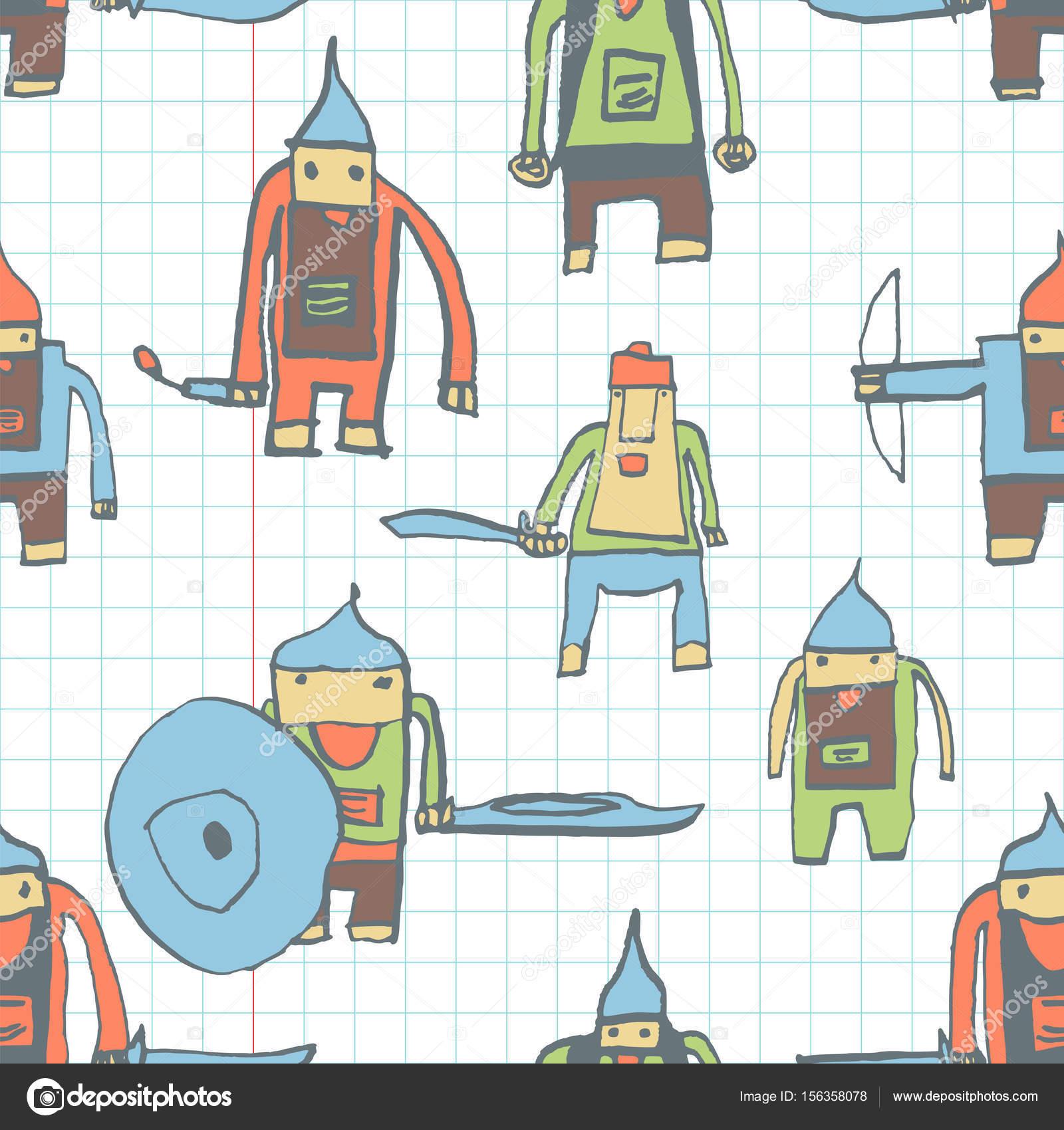 Niños de asombrosos patrones sin fisuras héroe dibujo dibujado con ...