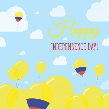 Colombia Independence Day Flat Patriotic Design Colombian Flag Balloons Happy National Day Vector