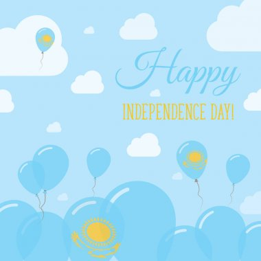 Kazakhstan Independence Day Flat Patriotic Design Kazakhstani Flag Balloons Happy National Day