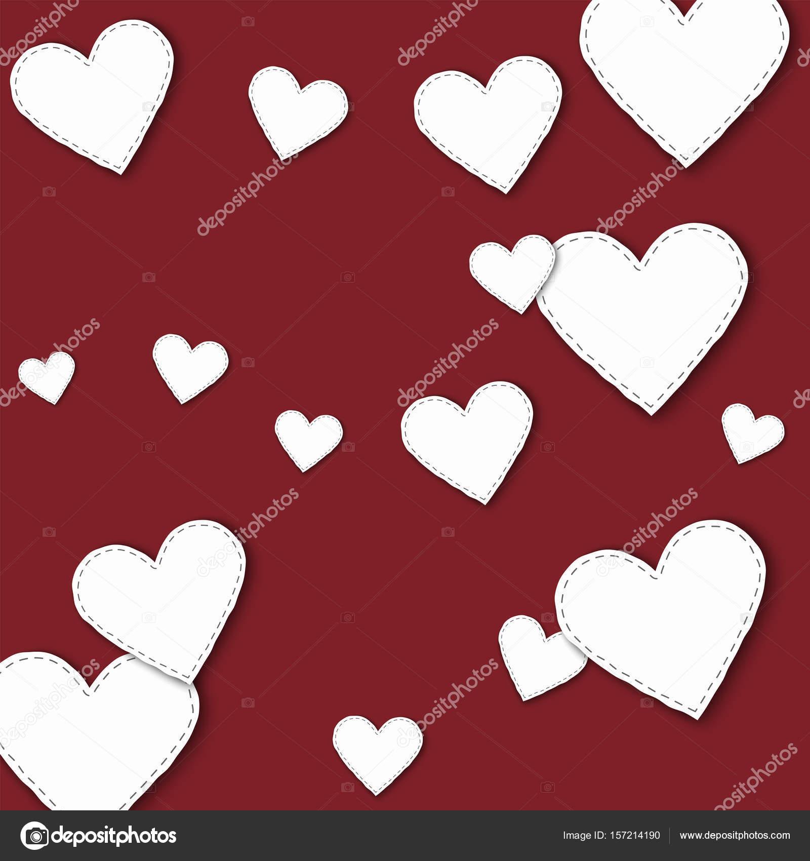 Großes weißes Papier Herzen verstreuten Muster mit großen weißen ...