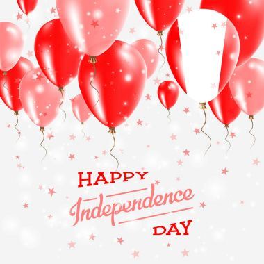Peru Vector Patriotic Poster Independence Day Placard with Bright Colorful Balloons of Country