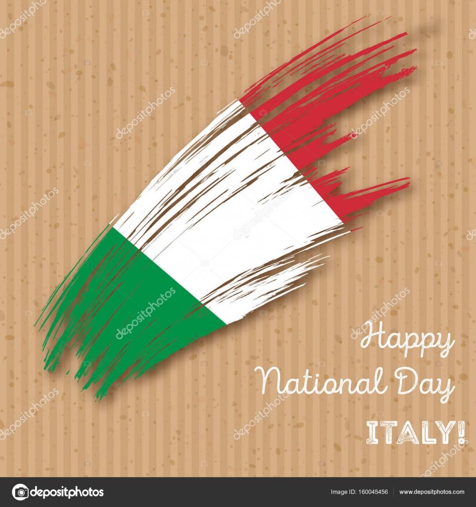 Carte Bonne Fete En Italien.Italie L Independance Patriotique Design Expressif Coup De Pinceau