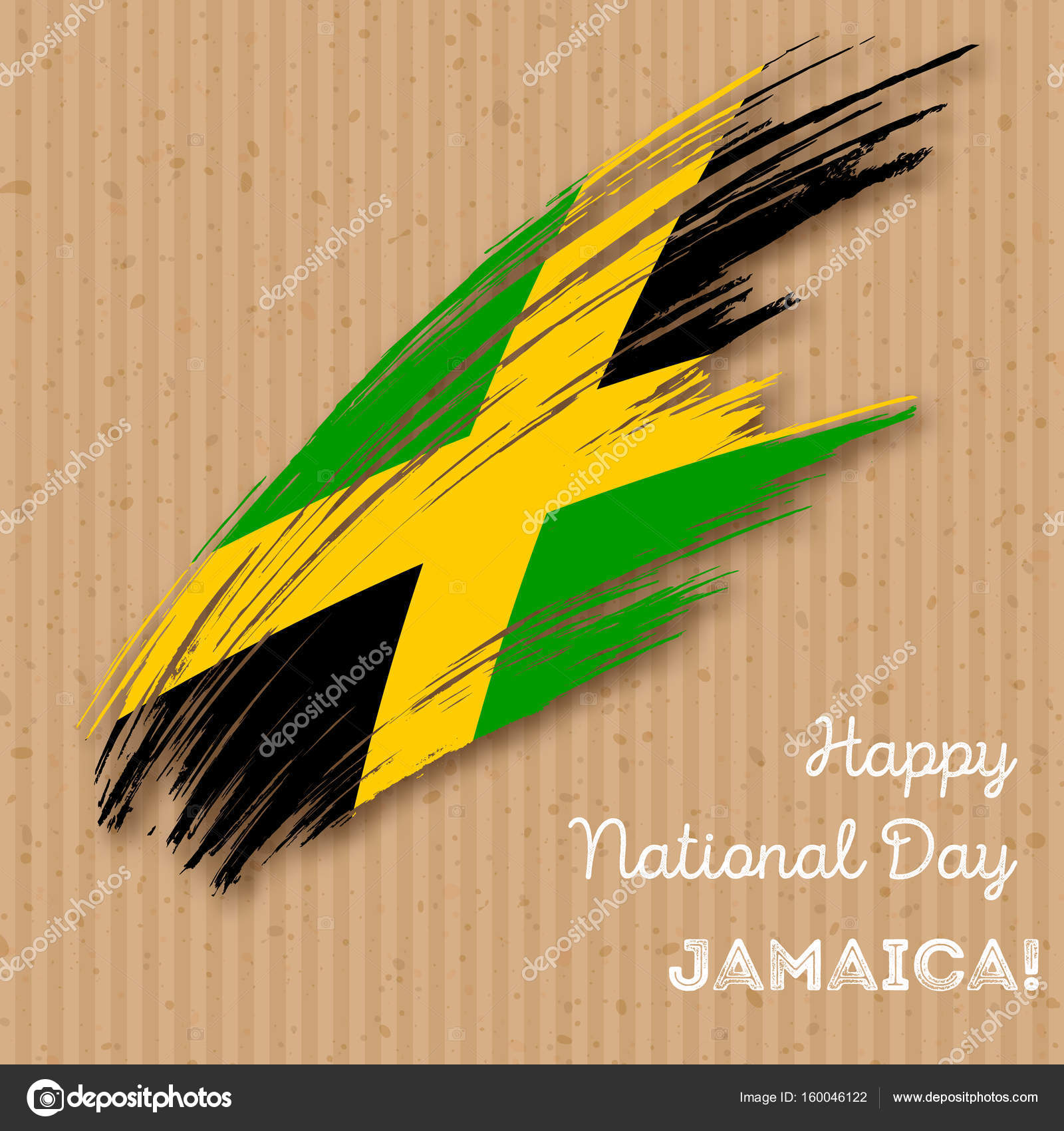 Jamaica Independence Day Patriotic Design Expressive Brush Stroke - Jamaica independence day