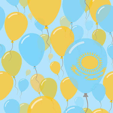 Kazakhstan National Day Flat Seamless Pattern Flying Celebration Balloons in Colors of Kazakhstani