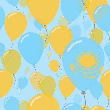 Kazakhstan National Day Flat Seamless Pattern Flying Celebration Balloons in Colors of Kazakhstani