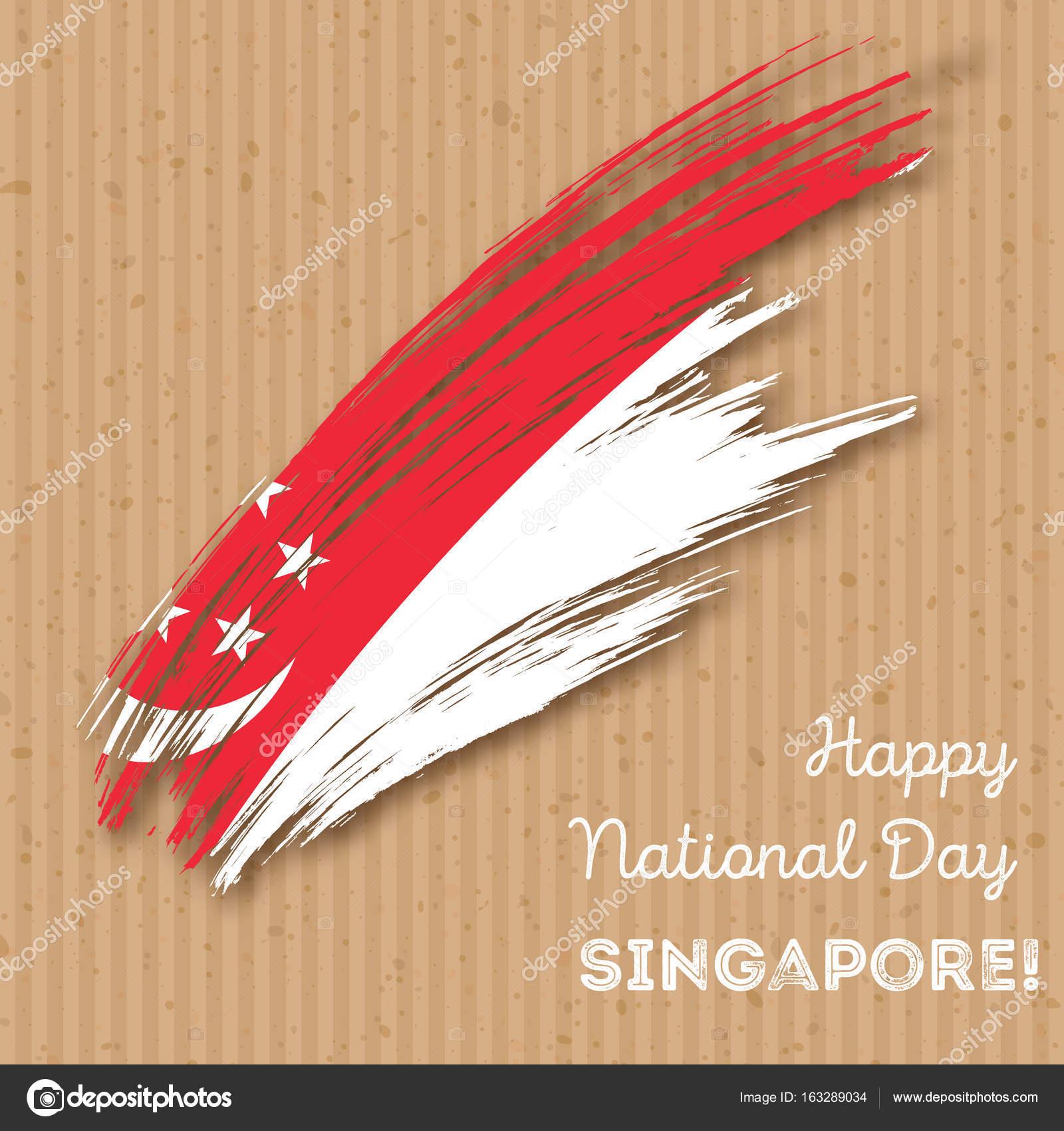 Singapore Independence Day Patriotic Design Expressive Brush Stroke