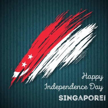 Singapore Independence Day Patriotic Design Expressive Brush Stroke in National Flag Colors on dark