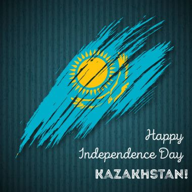 Kazakhstan Independence Day Patriotic Design Expressive Brush Stroke in National Flag Colors on