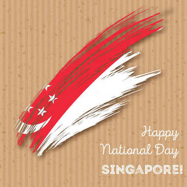 Singapore Independence Day Patriotic Design Expressive Brush Stroke in National Flag Colors on