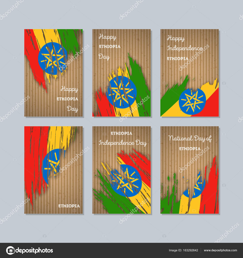 Ethiopia Patriotic Cards For National Day Expressive Brush Stroke In