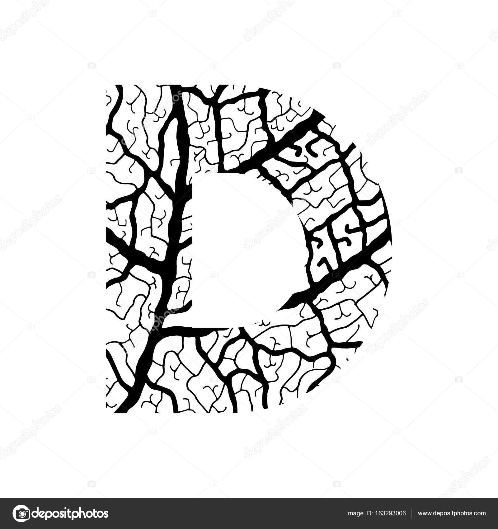 Nature alphabet ecology decorative font Capital letter D filled with leaf  veins pattern black on — 1fb89d5c9