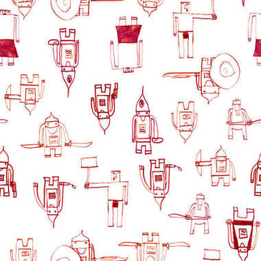 Hero seamless pattern Marvelous childs drawing with school pen Cute hero hand drawn with red ink