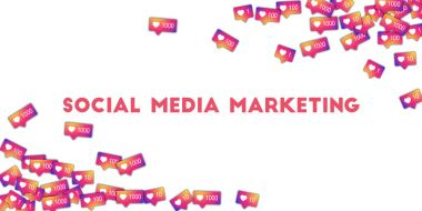 Social media marketing Social media icons in abstract shape background with gradient counter
