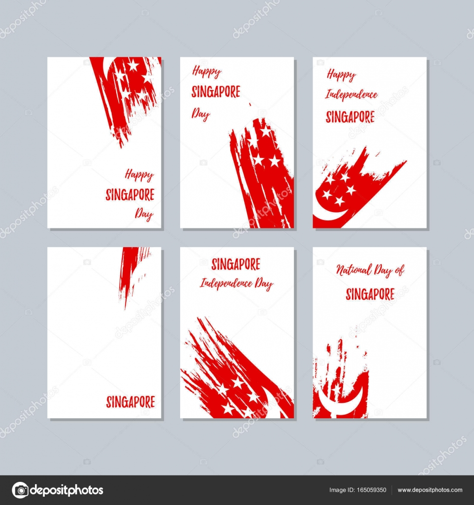 Singapore Patriotic Cards For National Day Expressive Brush Stroke