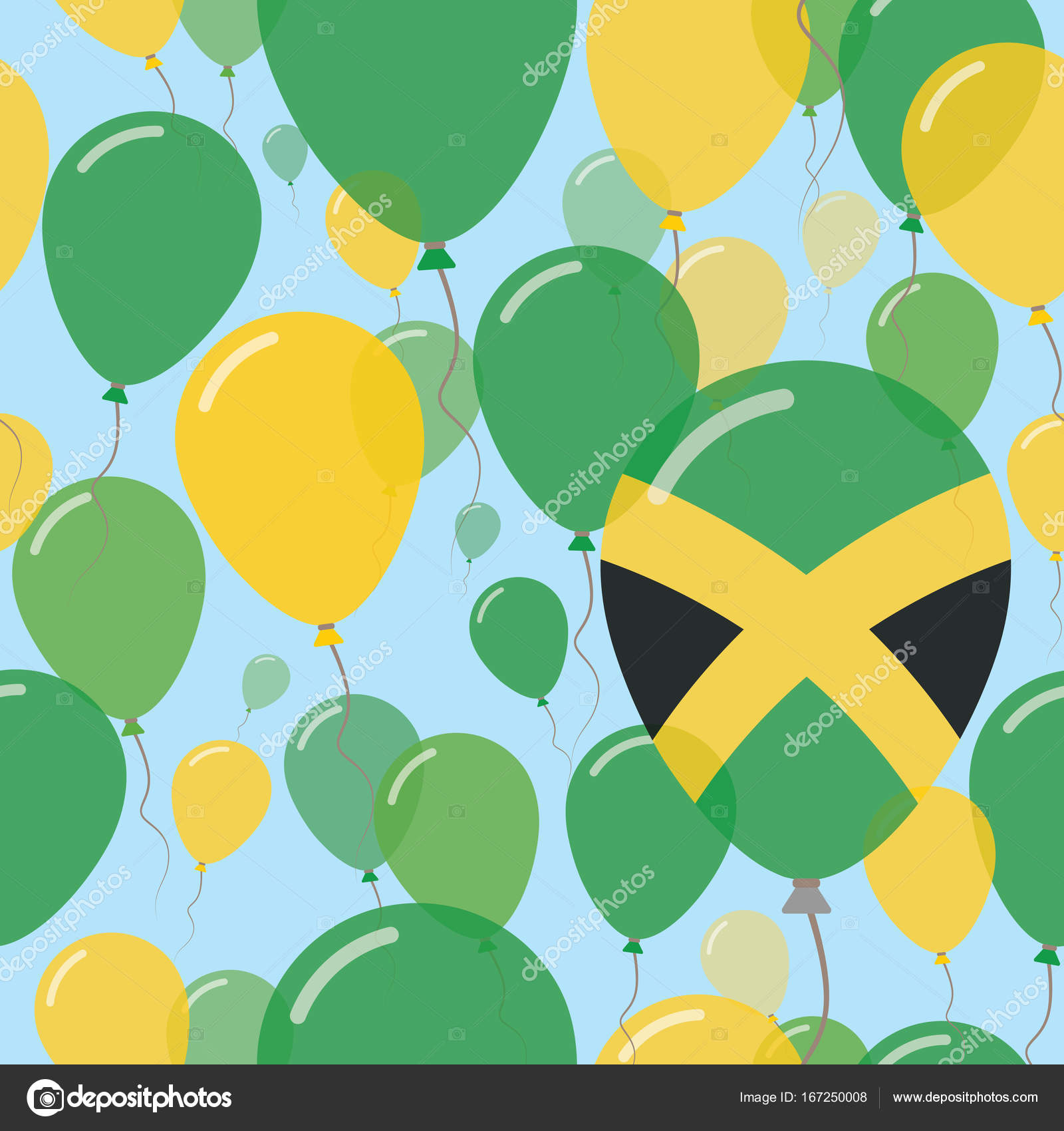 Jamaica National Day Flat Seamless Pattern Flying Celebration