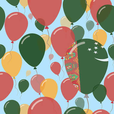 Turkmenistan National Day Flat Seamless Pattern Flying Celebration Balloons in Colors of Turkmen