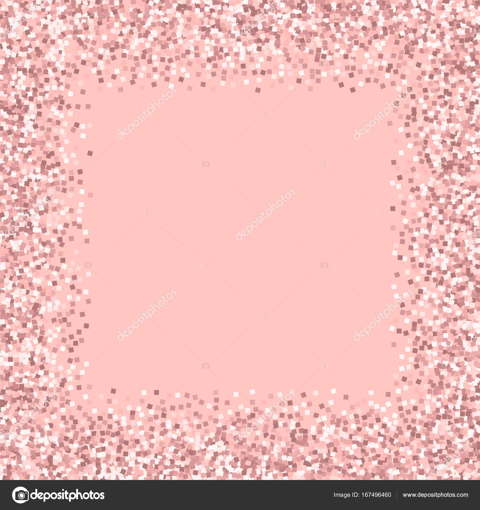 Pink Gold Glitter Chaotic Border With On Background Classy Vector Stock