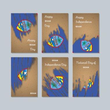 """Картина, постер, плакат, фотообои """"Гуам отечественной карты для национальных день выразительный мазка кистью в национальных цветах флага на Крафт"""", артикул 167717406"""