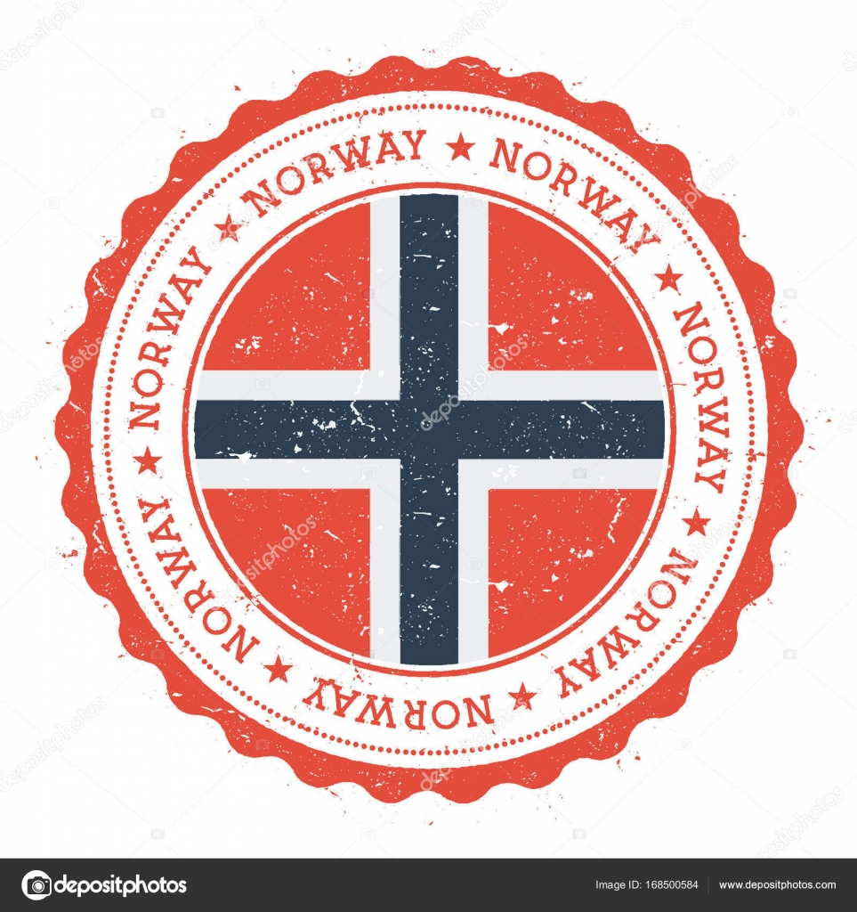 Grunge Rubber Stamp With Norway Flag Vintage Travel Circular Text Stars And National
