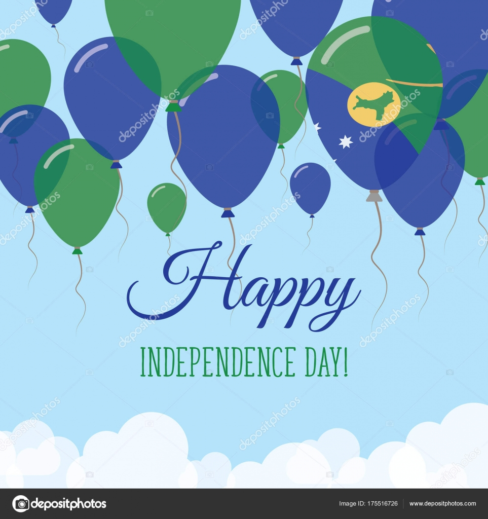 Christmas island independence day flat greeting card flying rubber christmas island independence day flat greeting card flying rubber balloons in colors of the stock kristyandbryce Gallery