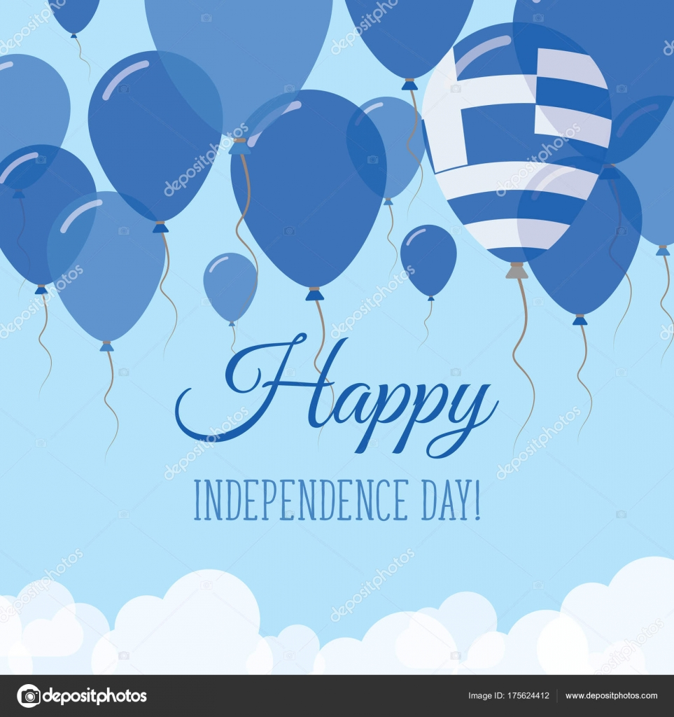 Greece independence day flat greeting card flying rubber balloons in greece independence day flat greeting card flying rubber balloons in colors of the greek flag m4hsunfo Choice Image