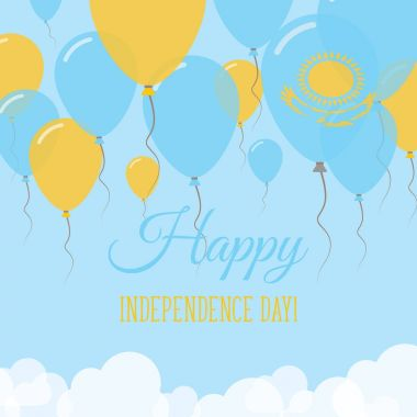 Kazakhstan Independence Day Flat Greeting Card Flying Rubber Balloons in Colors of the Kazakhstani