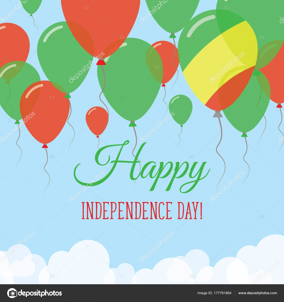Congo Independence Day Flat Greeting Card Flying Rubber Balloons - Congo independence day