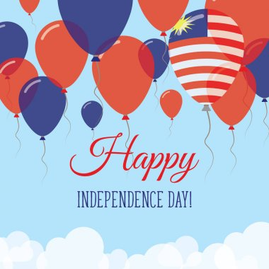 Malaysia Independence Day Flat Greeting Card Flying Rubber Balloons in Colors of the Malaysian