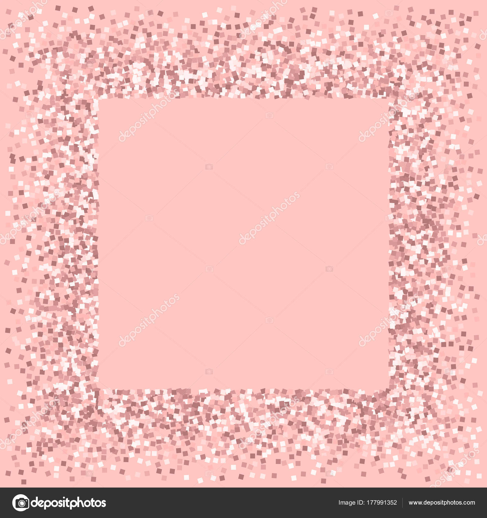 Pink gold glitter Square messy frame with pink gold glitter on pink ...