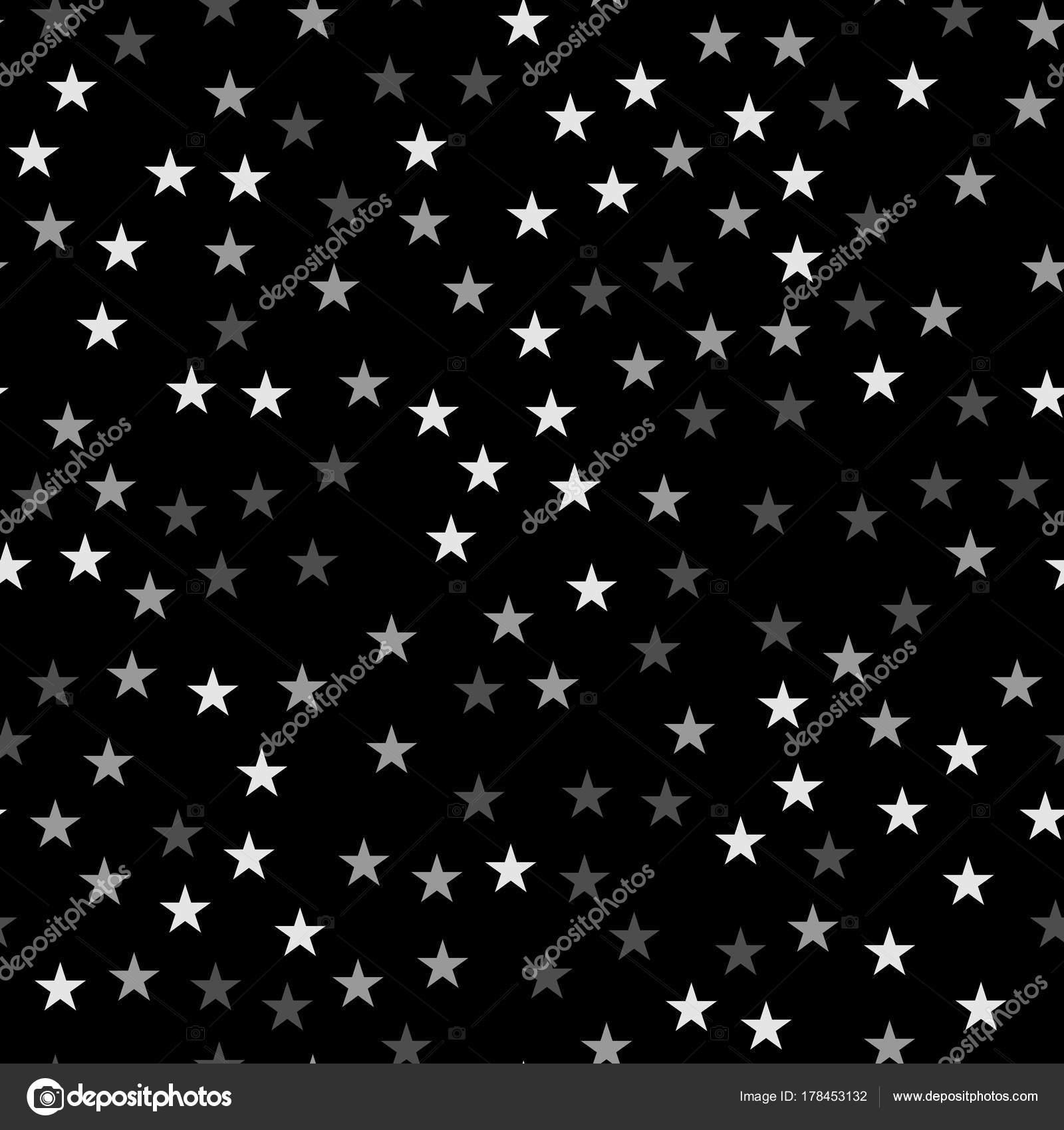 Modèle Sans Couture étoiles Blanches Sur Fond Noir Bizarre