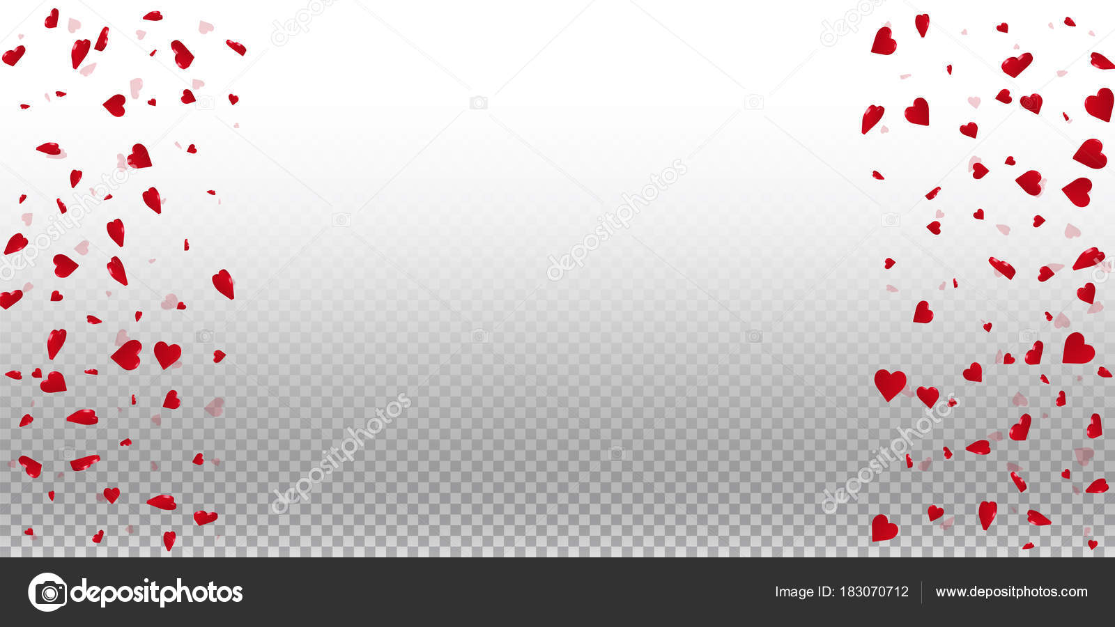 3d Hearts Valentine Background Right Left Border On