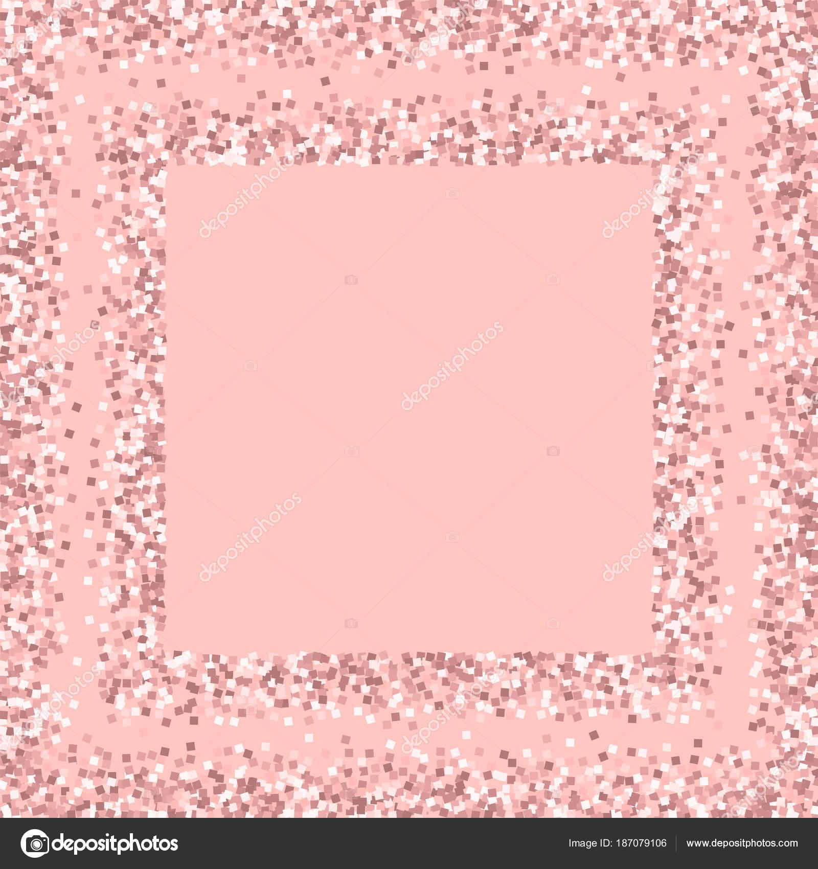 Glitter Oro Rosa Piazza Sparsi Telaio Con Glitter Oro Rosa Su Sfondo