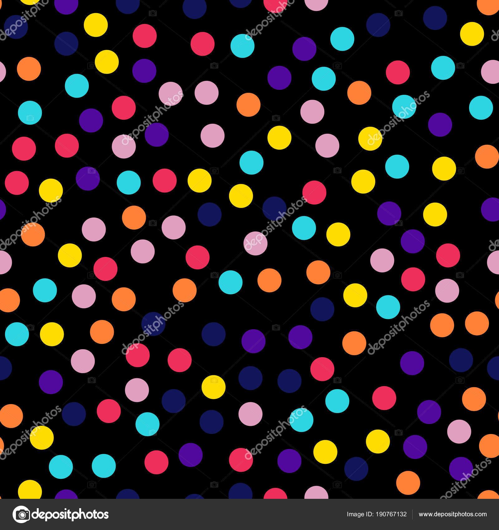 Memphis Stil Polka Dots Nahtlose Muster Auf Schwarzem Hintergrund