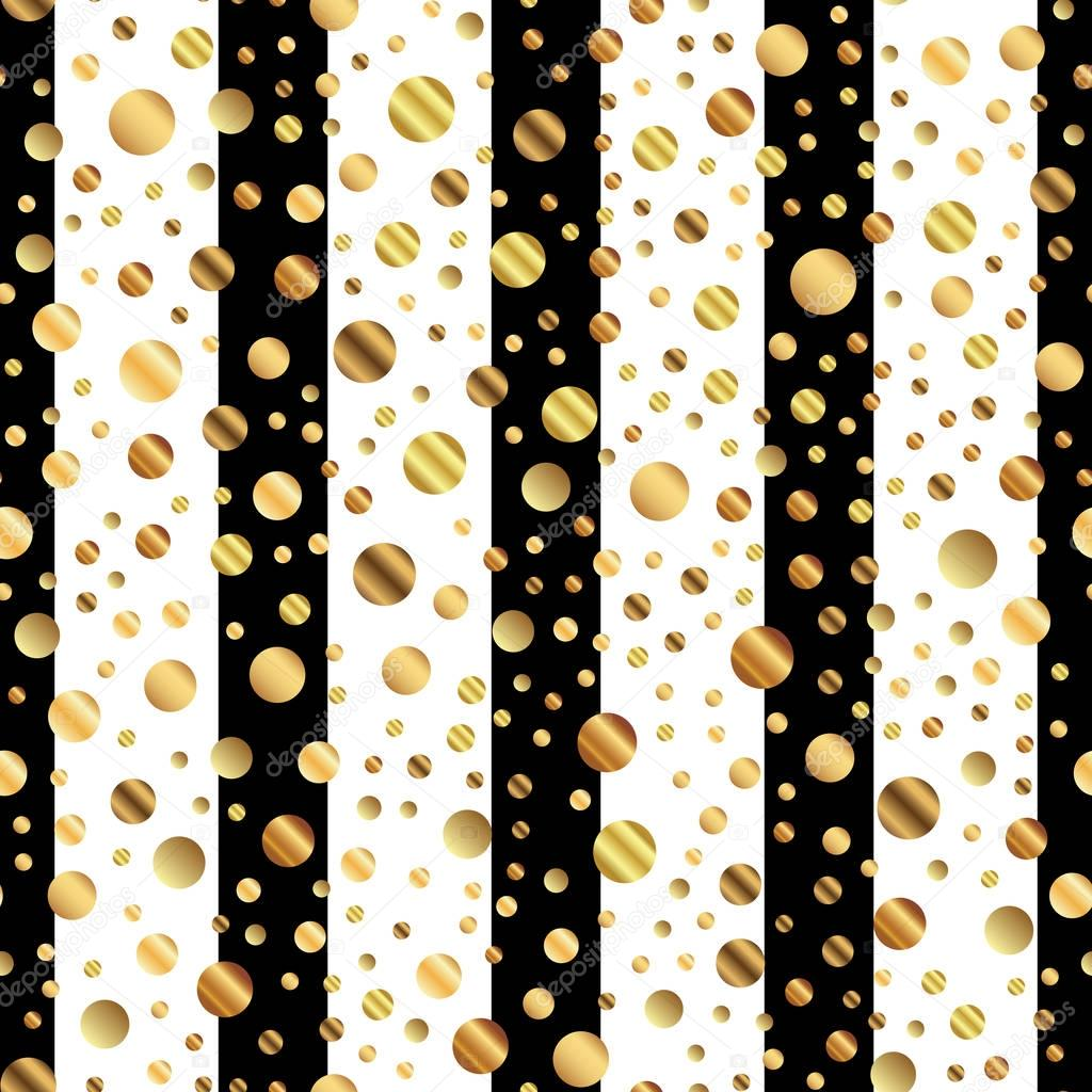 Golden dots seamless pattern on black and white striped background Graceful gradient golden dots