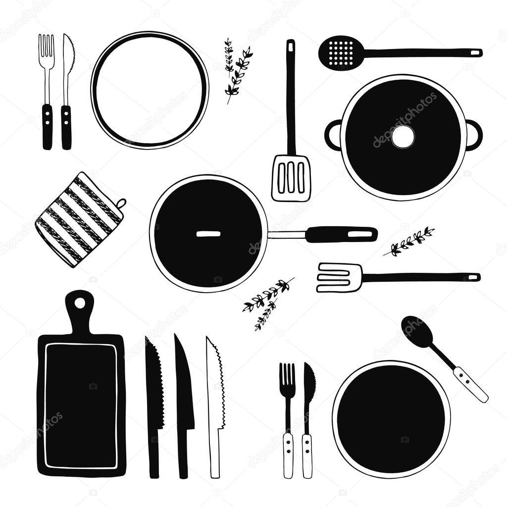 set utensili da cucina disegnato a mano collezione di strumenti di cucina attrezzature utensili da cucina stoviglie posate piatti di cucina