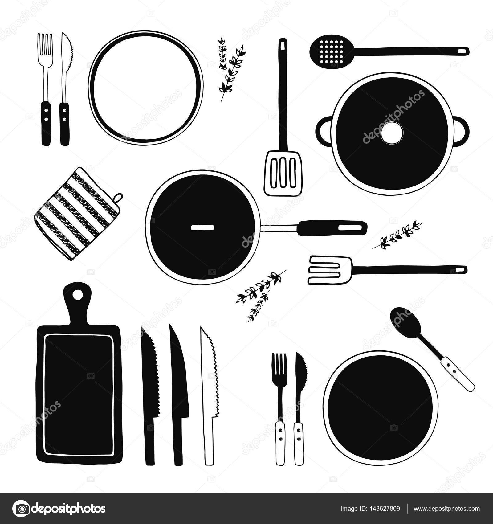 Handgezeichnete Küche Geschirr Set. Küche-Tools-Sammlung. Kochen ...