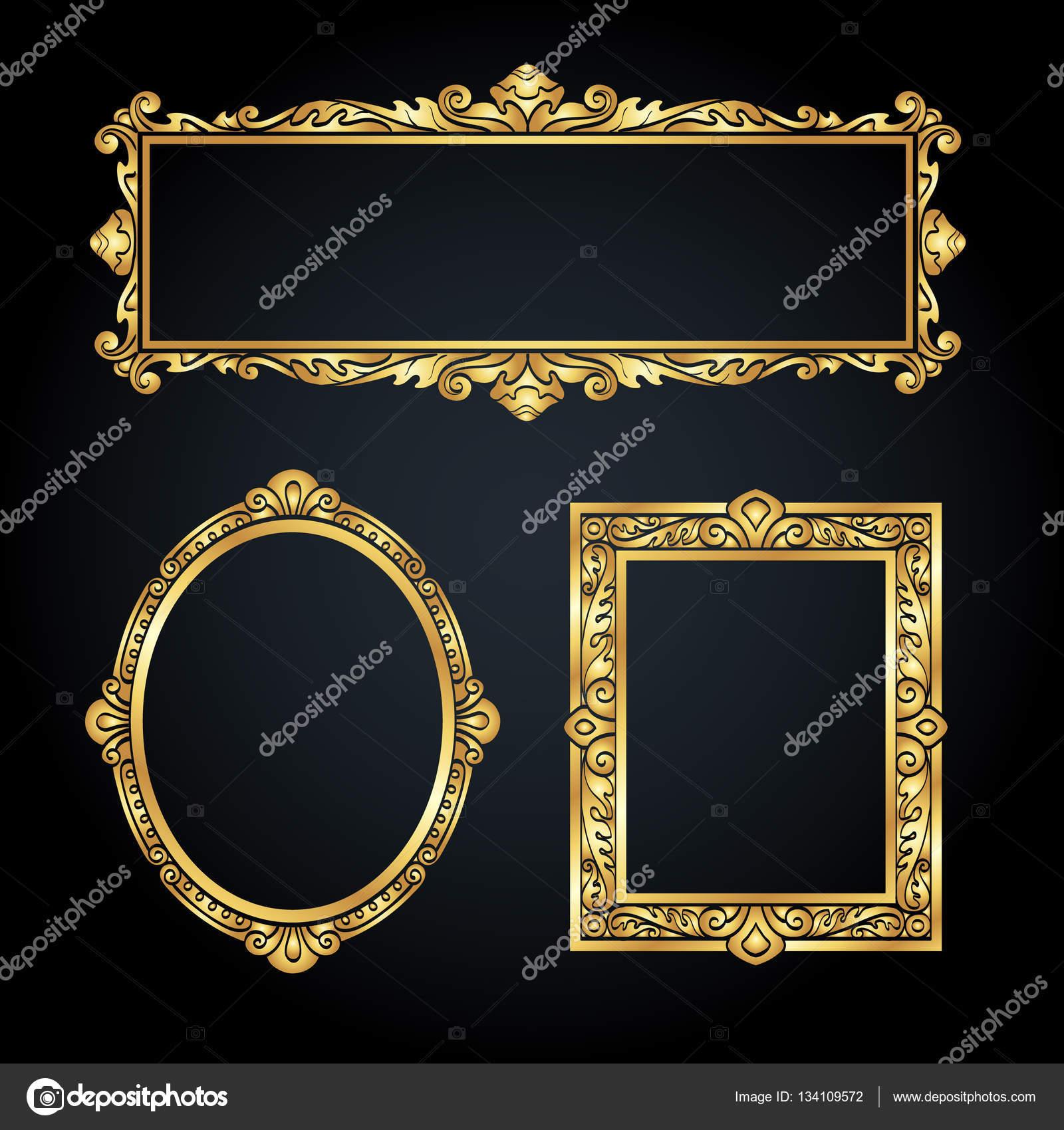 a260da061e8 Set of vintage banners. Gold frames on black background. Vector  illustration.