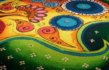 Deepak with colourful rangoli, traditional Indian art stock vector