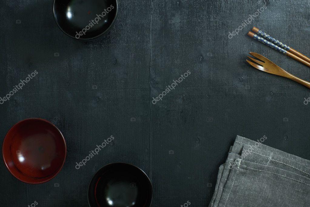 Asiatische Küchenutensilien küchenutensilien auf tisch stockfoto jamesteohart 125737572