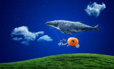 whale with pumpkin and two girls over grass