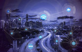Fotografie Smart-City und drahtlose Kommunikationskonzept