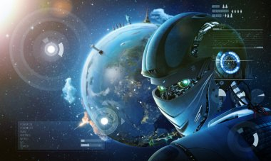 Robot with  planet Earth background