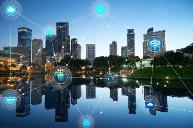 Smart city and wireless communication concept