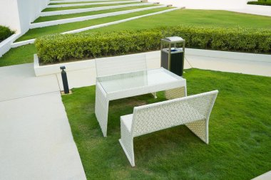 Patio furniture in garden
