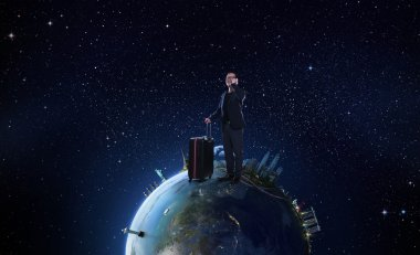 Businessman travels the world concept