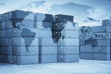 Intermodal containers with global map logistics