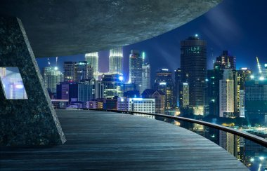 City view from space balcony