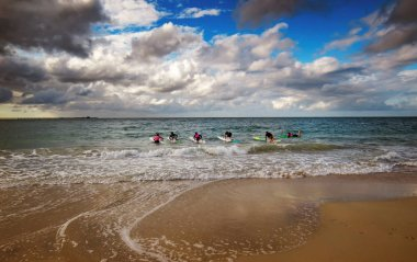 Group of young surfers on the beach