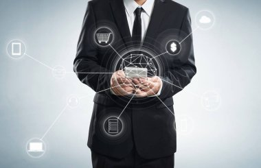 Businessman and network connection icons